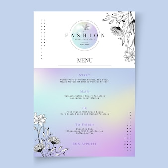 Businesswoman restaurant menu template
