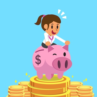 Businesswoman riding pink piggy bank with money