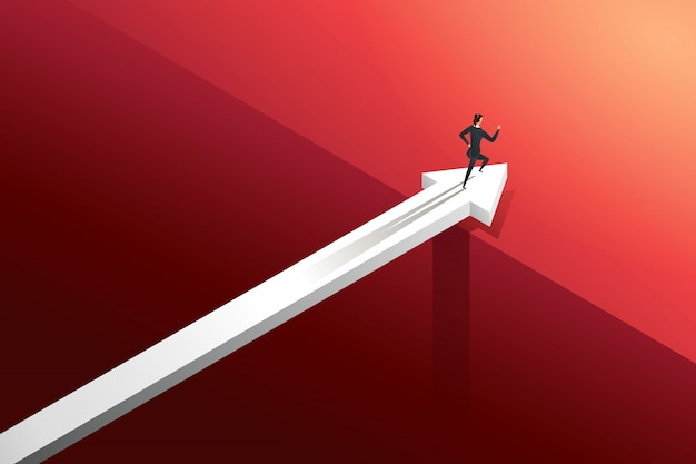 Businesswoman running on arrow over bridge with challenge go to growth success. illustration