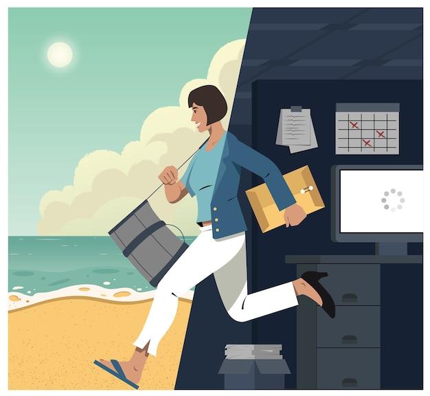 스트레스가 많은 사무에서 해변으로 도망 치는 사업가