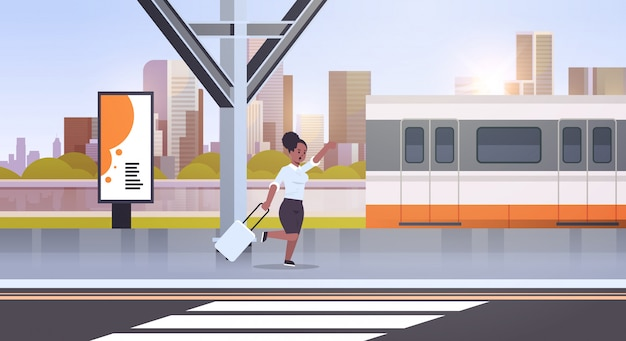 Businesswoman running to catch train   woman with luggage on railway station city public transport female cartoon character cityscape background full length horizontal