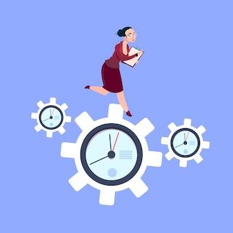 Businesswoman running on clock cogwheels over blue background gear deadline process strategy concept flat