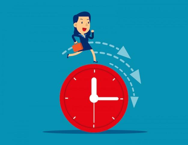 Businesswoman running on clock representing deadline