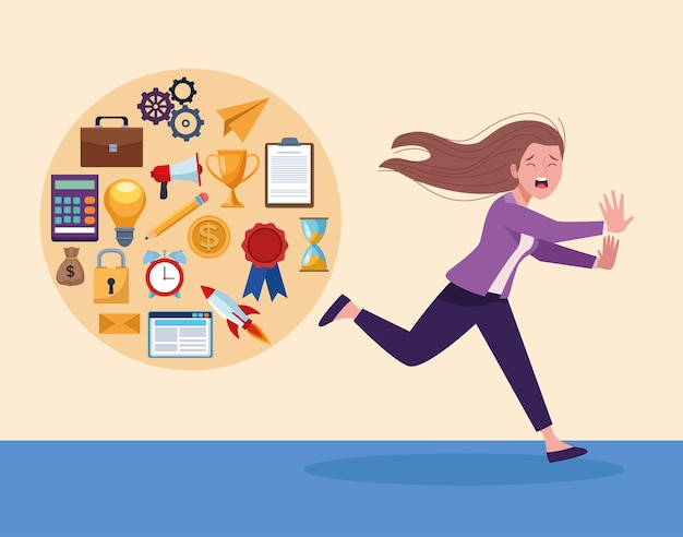 Businesswoman running extressed with information overload icons  illustration
