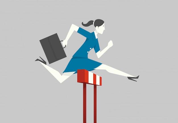 Businesswoman running hurdle.