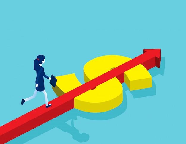 Businesswoman running on the money arrow