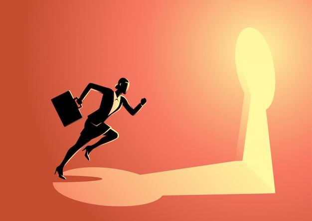 Businesswoman running towards a key hole