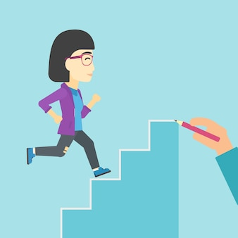 Businesswoman running upstairs vector illustration