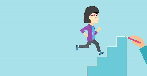 Businesswoman running upstairs vector illustration