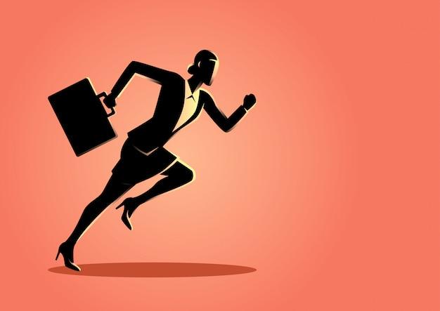 Businesswoman running with briefcase