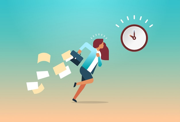 Businesswoman running with falling papers from briefcase time management deadline