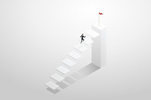 Businesswoman rushing up the stairs to the target goal and success.