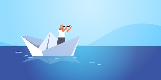 Businesswoman sailing on paper boat in sea buisness woman looking in binocular future opportunity leadership concept seascape background   illustration