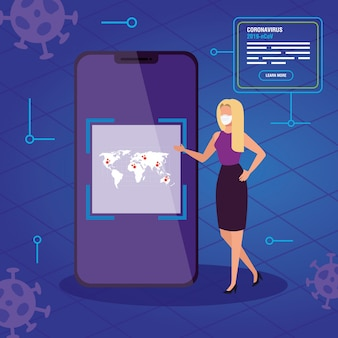Businesswoman searching 2019-ncov information online in smartphone
