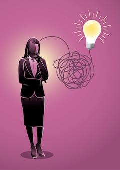 複雑で混沌とした方法でアイデアを探して考える実業家