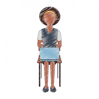 Businesswoman seated on chair using laptop scribble faceless