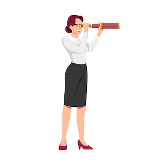 Businesswoman seeking new opportunities illustration