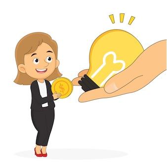 Бизнесвумен продажа идей за деньги, творческое мышление и деньги