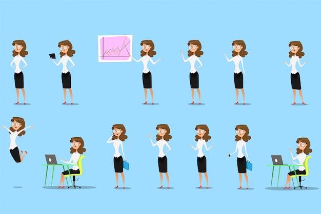 Businesswoman showing different gestures