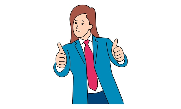 Businesswoman shows ok sign