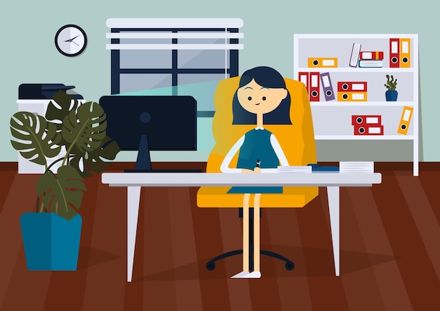 Деловая женщина, сидящая за компьютерным столом, она смотрит на монитор компьютера