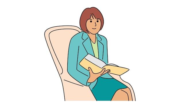 Деловая женщина, сидя на диване, читая книгу