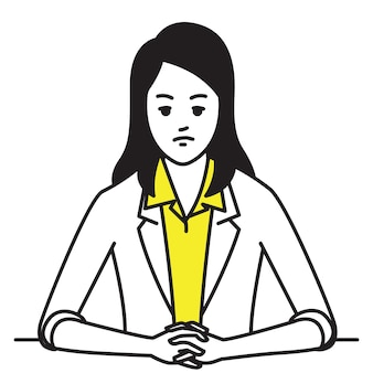 Businesswoman sitting table, clenched hands with serious, worried, stressed expression.