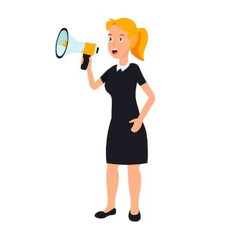 Businesswoman speak through a loudspeaker