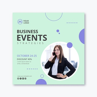 Businesswoman square flyer template