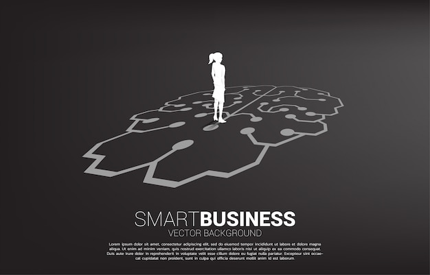 Businesswoman standing on brain icon graphic on floor. icon for business planning and strategy thinking