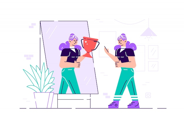 Businesswoman standing in front of a mirror looking at her reflection and imagine yourself successful. business concept. flat style modern design  illustration for web page, poster, social medi