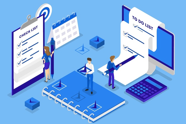 Businesswoman standing at long to do list. big task document. people looking at paper sheet. isolated isometric illustration