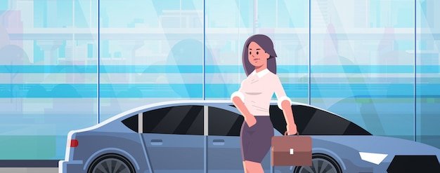 Businesswoman standing near luxury car woman in formal wear holding suitcase going to work business