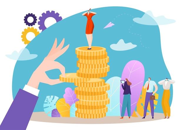 Businesswoman standing near stack of golden dollar coins