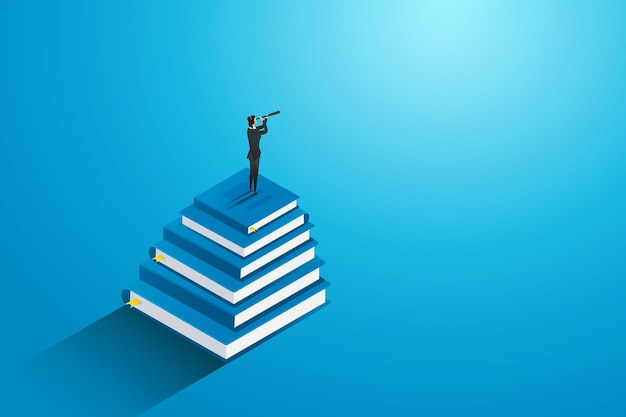 성공과 경력을 위한 미래 교육을 찾기 위해 책 위에 서 있는 사업가