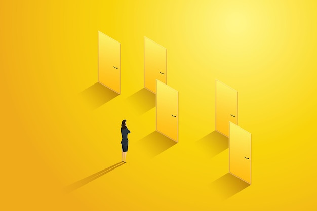 Businesswoman stands in front of several doors thinking choosing one
