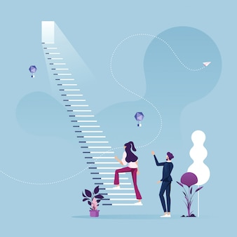 Businesswoman start climbing stair for success-business career concept