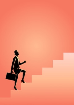 Businesswoman stepping on stairs