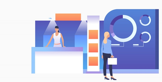Businesswoman studying isometric sale stands banner