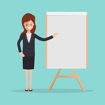 Businesswoman in suit presenting character with whiteboard.