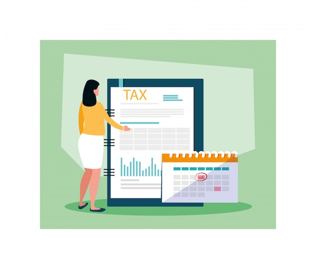 Businesswoman in tax day