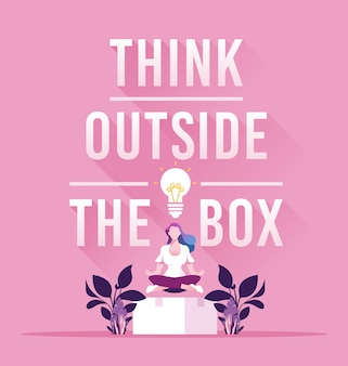 Businesswoman think outside the box concept