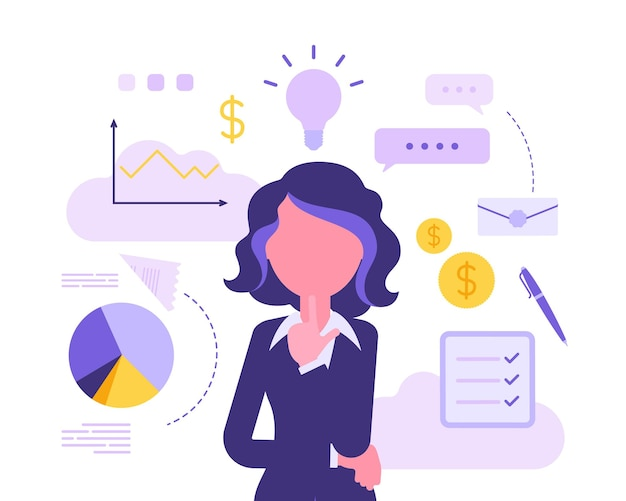 Businesswoman thinking about new project. business inspiration for creative female manager, entrepreneur with great idea for financial gain in mind. vector abstract illustration, faceless character