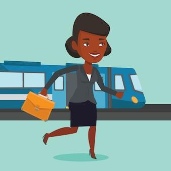 Businesswoman at train station