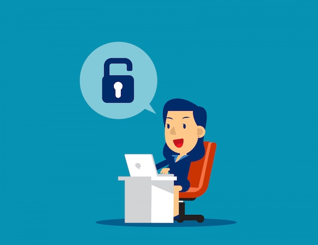 Businesswoman unlock. concept business technology vector illustration, achievment, successful