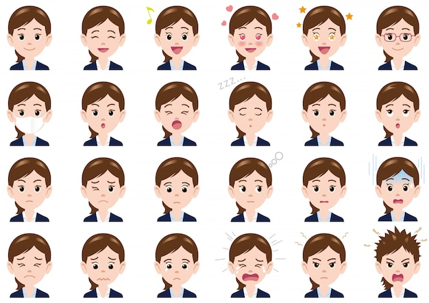 Businesswoman various expressions set. vector characters isolated