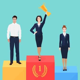 Businesswoman on victory podium
