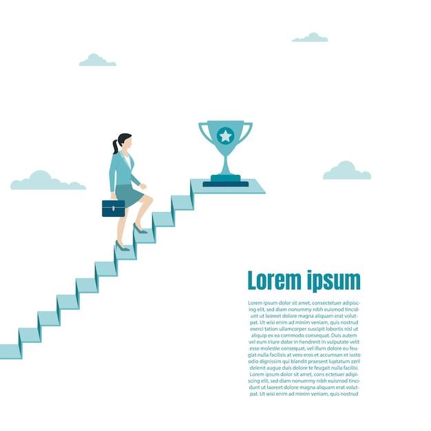 Деловая женщина подходит к трофею по лестнице успеха. награда за достижение, победу, цель, достижение чемпиона. цель успеха в бизнесе. рост в карьере. векторная иллюстрация плоский