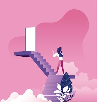 Коммерсантка идя вверх по лестнице к двери в небе