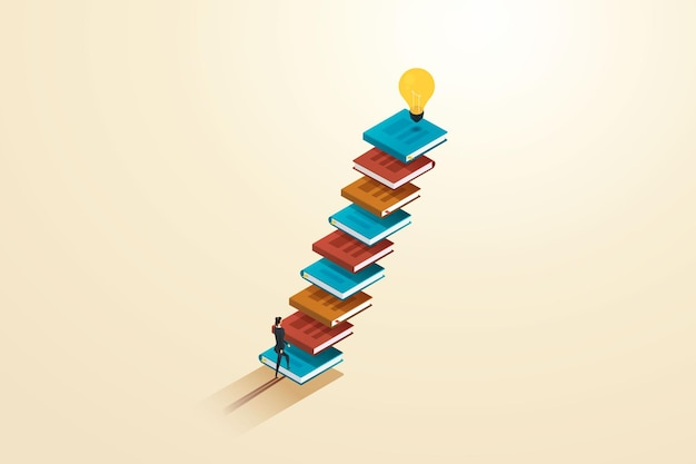 Businesswoman walking up stairs books there is a light bulb on top